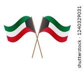 symmetrical crossed kuwait flags | Shutterstock . vector #1240329031