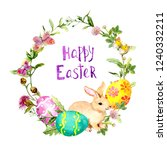easter wreath with bunny ... | Shutterstock . vector #1240332211