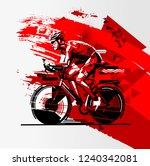 triathlon athlete ride the bike | Shutterstock .eps vector #1240342081