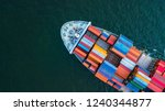 Small photo of Container ship, Logistic business freight shipping import export international by container ship vessel in the open sea, Aerial top view container cargo freight shipment.
