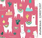 seamless pattern of cute hand... | Shutterstock .eps vector #1240371337