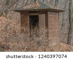 wooden outhouse surrounded by... | Shutterstock . vector #1240397074