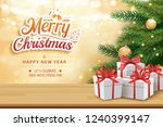 christmas greeting card with... | Shutterstock .eps vector #1240399147