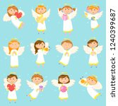 angel children  angelic boys... | Shutterstock .eps vector #1240399687