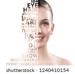 beautiful woman face with tag... | Shutterstock . vector #1240410154