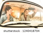 indie couple ready for roadtrip ... | Shutterstock . vector #1240418704