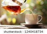 hot tea pouring from tea pot on ... | Shutterstock . vector #1240418734