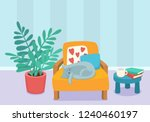 Stock vector living room interior design with sleeping cat and furniture chair pillows plant and table with 1240460197