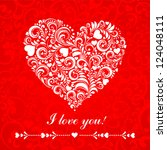 i love you. greeting card... | Shutterstock .eps vector #124048111