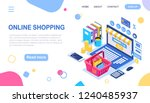 online shopping. isometric 3d... | Shutterstock .eps vector #1240485937