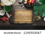 around empty cutting board raw... | Shutterstock . vector #1240503067