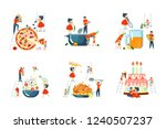 happy family cooking together...   Shutterstock .eps vector #1240507237