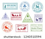 Santa Claus Mail Stamps. Vector ...