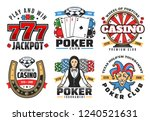 Casino poker gambling game icons. Vector symbols of poker ace cards, golden horseshoe, wheel of fortune, chips and diamond, dice or craps with lucky seven number, casino croupier and joker - stock vector