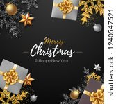 christmas poster with golden... | Shutterstock .eps vector #1240547521
