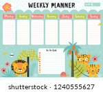 kids weekly planner and to do... | Shutterstock .eps vector #1240555627