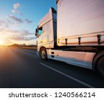 loaded european truck on... | Shutterstock . vector #1240566214