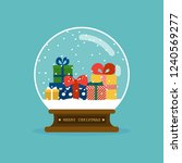 merry christmas glass ball with ... | Shutterstock .eps vector #1240569277