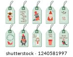 christmas tags set cute doodle... | Shutterstock .eps vector #1240581997