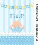 baby shower boy card. vector... | Shutterstock .eps vector #1240585891