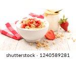 yogurt  muesli and strawberry | Shutterstock . vector #1240589281