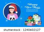 brunette woman face avatar red... | Shutterstock .eps vector #1240602127