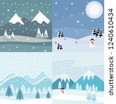 winter landscape vector... | Shutterstock .eps vector #1240610434
