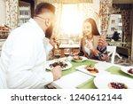 romantic dinner happy men and...   Shutterstock . vector #1240612144