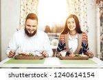 romantic dinner happy men and...   Shutterstock . vector #1240614154