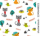 funny cats and mouses pattern....   Shutterstock .eps vector #1240648021