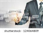 businessman pushing contact us...   Shutterstock . vector #124064809