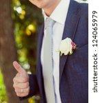 groom in a wedding jacket with... | Shutterstock . vector #124065979