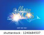 merry xmas card over blue... | Shutterstock .eps vector #1240684537