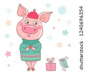 cute dreamy pig dressed in a a... | Shutterstock .eps vector #1240696354