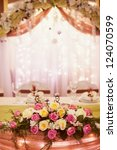 decorated wedding table in the... | Shutterstock . vector #124070599