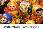 colorful russian matryoshka at... | Shutterstock . vector #1240709911