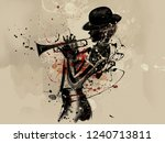 abstract woman with trumpet.... | Shutterstock . vector #1240713811