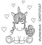 vector cute unicorn cartoon ... | Shutterstock .eps vector #1240715167