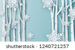 Illustration of Winter landscape with snow fall in forest. and place for your text space. paper cut and craft design. vector, illustration.