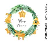 watercolor christmas wreaths... | Shutterstock . vector #1240721317