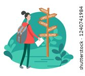 infographics with girl at... | Shutterstock .eps vector #1240741984