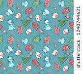 hand drawn christmas pattern...   Shutterstock .eps vector #1240744621