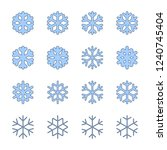 snowflakes signs set. blue... | Shutterstock .eps vector #1240745404
