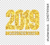 happy new year card gold number ... | Shutterstock .eps vector #1240745464