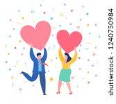 concept of love. mini people... | Shutterstock .eps vector #1240750984