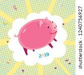 funny nice pink piggy on pop... | Shutterstock .eps vector #1240756927