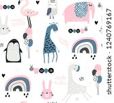 seamless childish pattern with... | Shutterstock .eps vector #1240769167