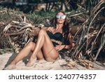 girl  in a black swimsuit and...   Shutterstock . vector #1240774357