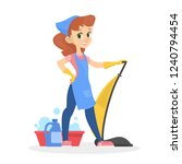 girl standing with vacuuum... | Shutterstock .eps vector #1240794454