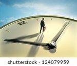 businessman walking on a clock... | Shutterstock . vector #124079959